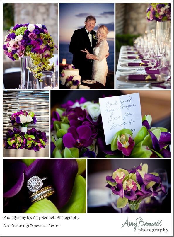Purple wedding decor and hair and make-up by Suzanne Morel Cabo Esperanza Resort