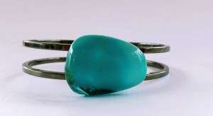 Turquoise braclet on silver plated nickel-free bangle