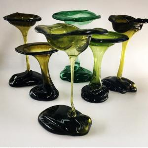 Glass vases made from recycled wine glasses