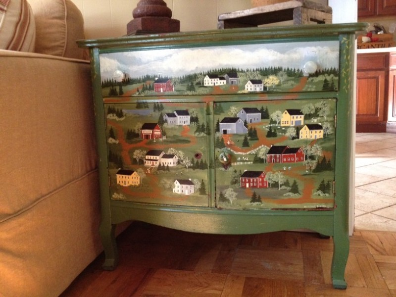 This hand-painted folk-art dresser was too nice to leave abandoned by the side of the road. But it no longer suits my decor. What can I do with it?
