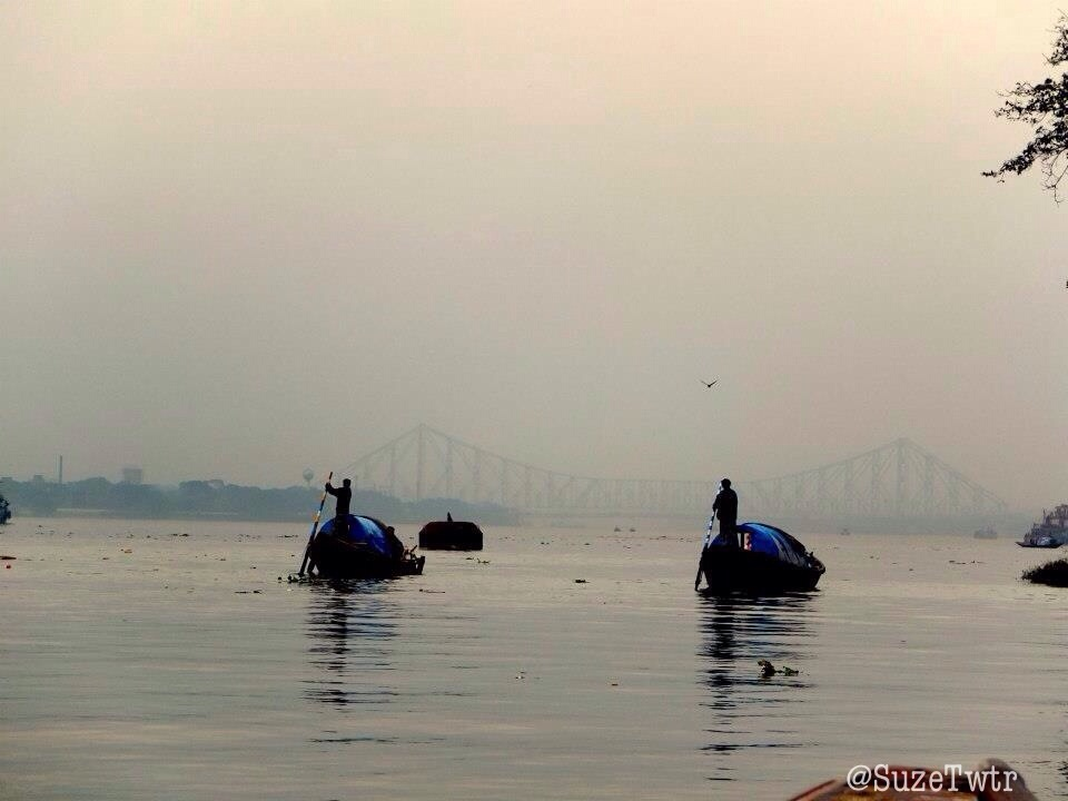 A view of the Howrah bridge, from the Hooghly. December 2012.