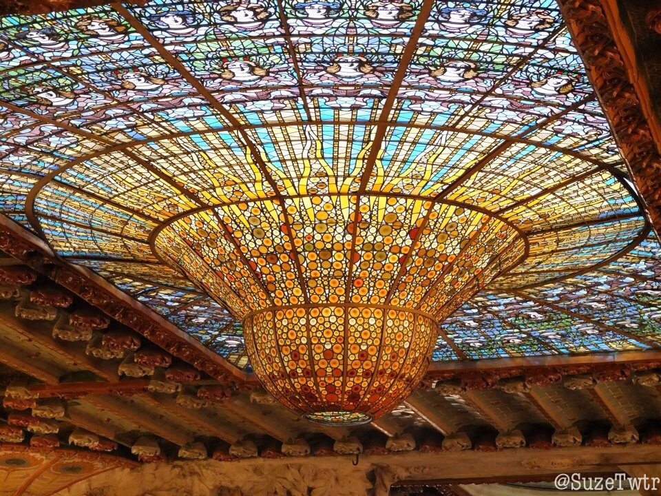 The beautiful ceiling of the Palau de la Música Catalana in Barcelona. July 2012.