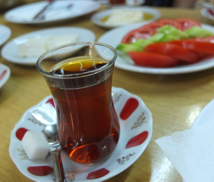 Turkish tea, which you can ask for either strong or light.