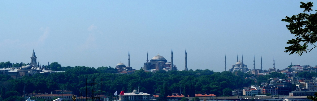 The view across the Bosphorus. L-R: Topkapi, Hagia Sophia and the Blue Mosque