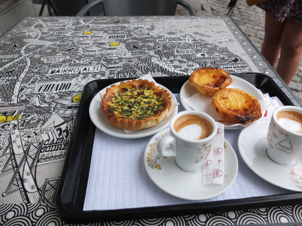"My favourite food in Lisbon - Pastel de Nata (a Portugese egg tart) and Garoto (a Portugese ""cortado"", i.e. espresso cut with some milk)."