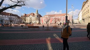 Maddie in one of the town piazzas