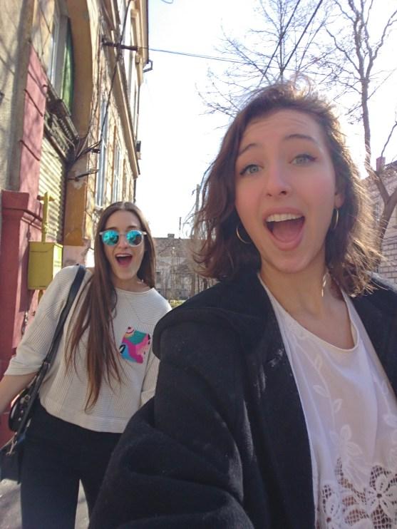 Walking around Timișoara with Maddie