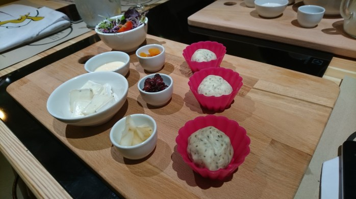 Ready to make mini quiches with Abby! Brie, chopped dried fruit and apple