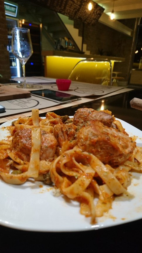 Abby's pork and tomato, red pepper pasta