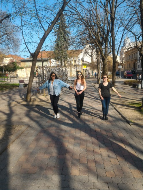 Nina, Maddie and Holly walking around Pécs