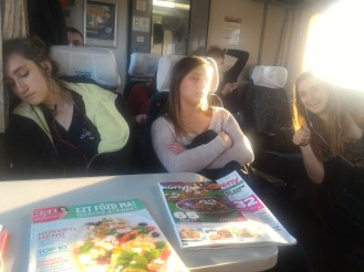 Christine and Meghan taking a nap on the train (Maddie in the background)