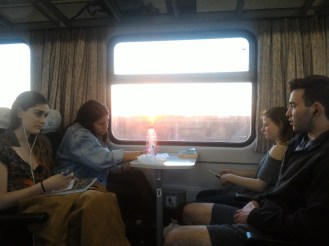 Maddie, Nina, Holly and Alex on the train