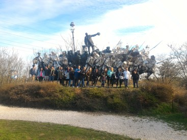My class in front of a communist sculpture