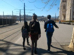 Group mates walking to our interview