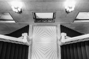 Marble staircase leading to the Preston Bradley Hall in the Chicago Cultural Center