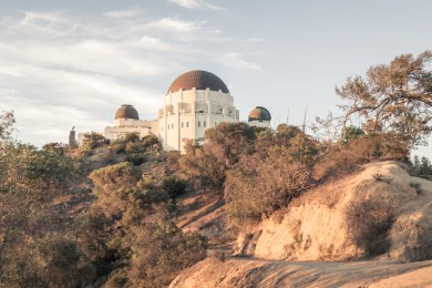 Griffith Observatory from trail, facing north
