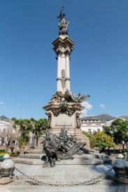 Independence Monument in Plaza Grande, Quito, Ecuador