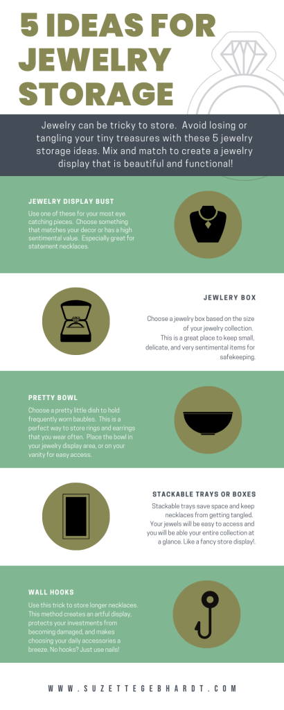 Information Graphic displaying 5 types of jewlery storage options.