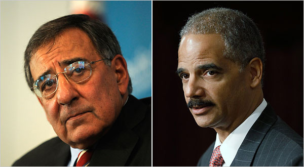 Leon E. Panetta, left, director of the Central Intelligence Agency, tried to persuade Attorney General Eric H. Holder Jr., right, to drop plans to investigate the treatment of C.I.A. detainees.
