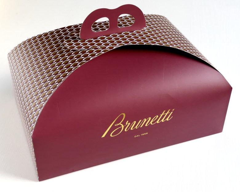 Brown Brunetti cake box against white background