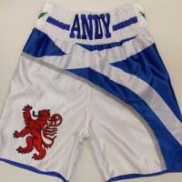 White Scotland Boxing Shorts Custom