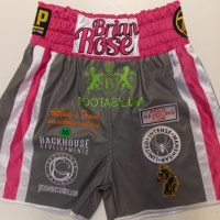 Brian Rose Grey Leather & Pink Boxing Shorts