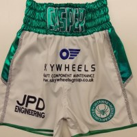 Kofi Yates White Leather & Green Wetlook Boxing Shorts