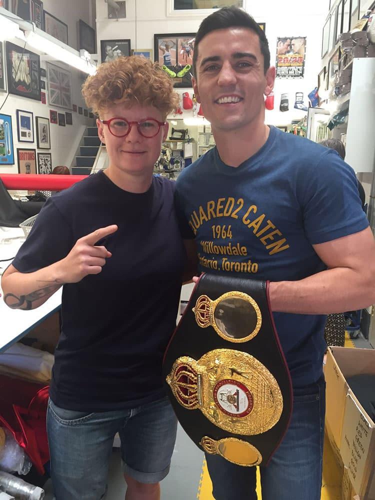 crolla visit with world title belt