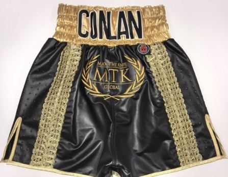 Black Leather Mexican Style Boxing Shorts