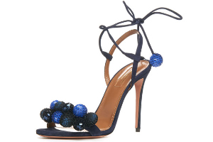 Perette Love - Aquazzura Disco Thing Sequin-Embellished Sandal, Ink