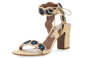 Perette Love - Tabitha Simmons Ollie Natural Raffia/Marine Flower Embroidery