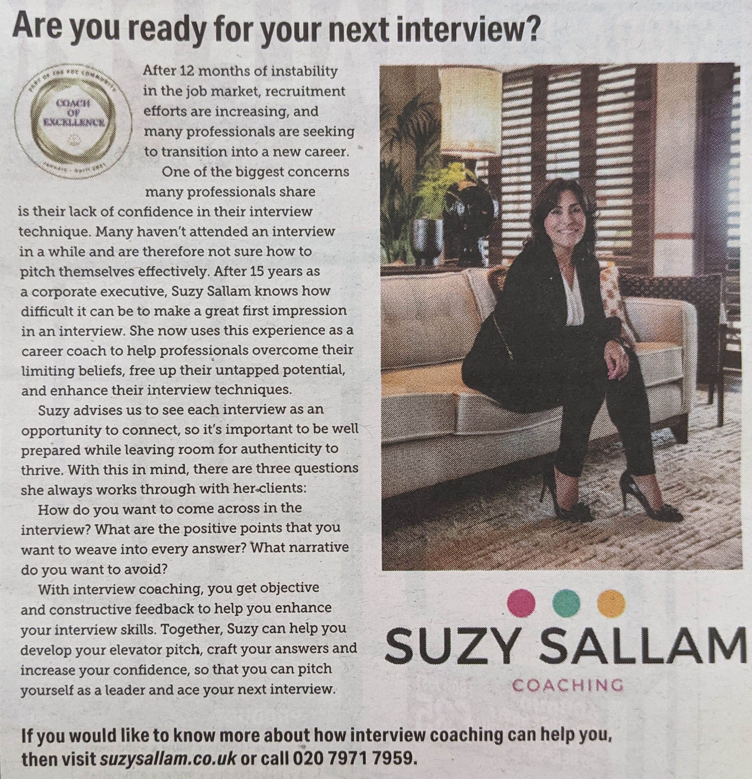 Suzy Sallam Feature in The Times
