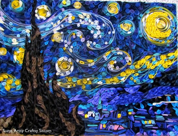 paper quilled starry night van gogh