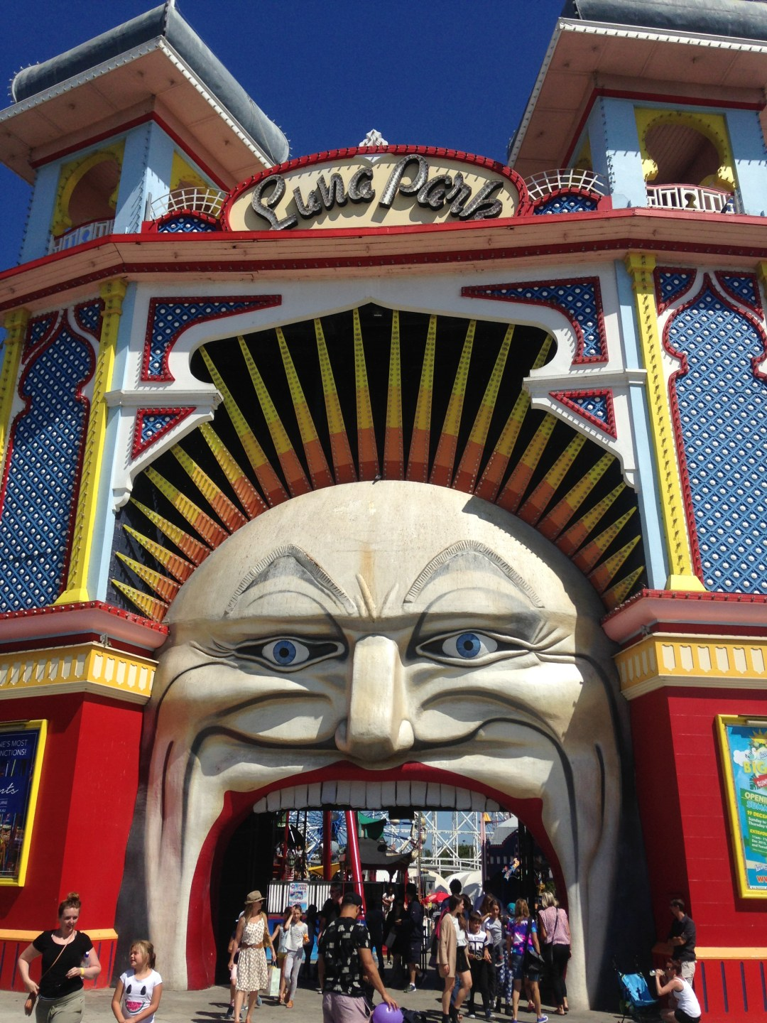 Entrance to Luna Park theme park, depicting a brightly coloured clown's face with the mouth as an entrance.