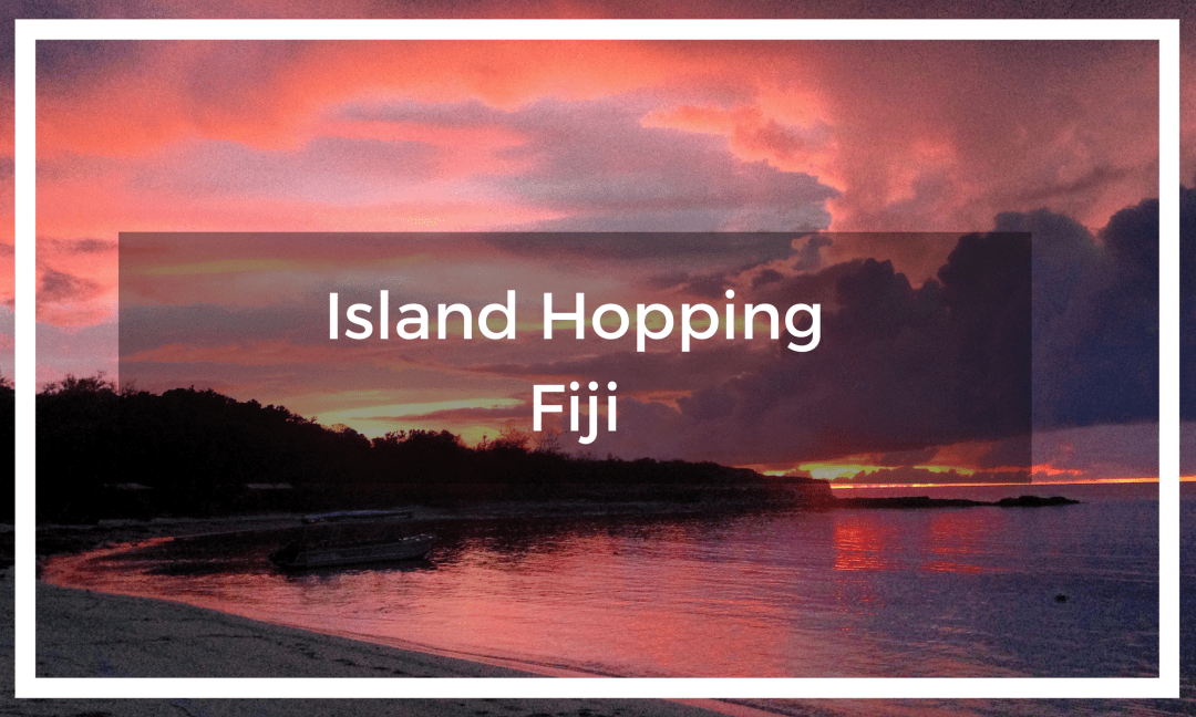 Title text overlay a bright pink sunset from a Fiji island beach with the calm ocean in front