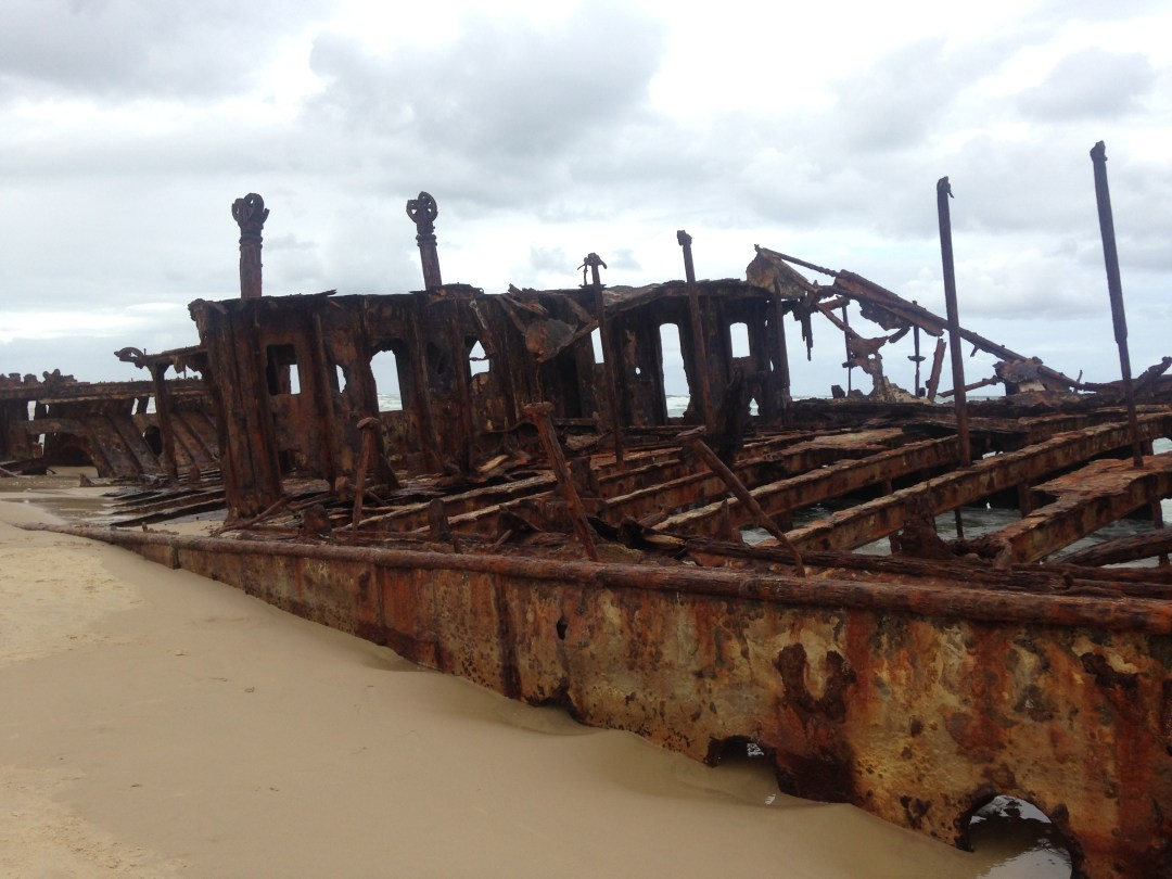 The rusting remains of Maheno Shipwreck on Fraser Island, Australia