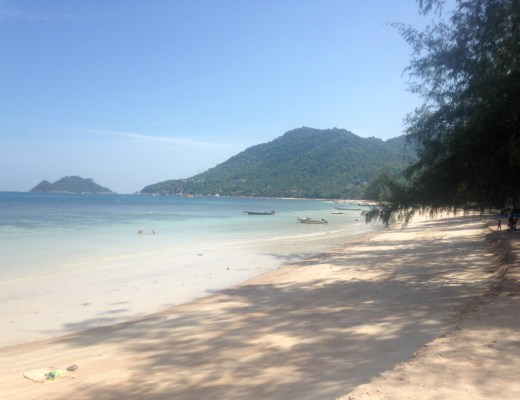 view of koh tao beach and scattered boats
