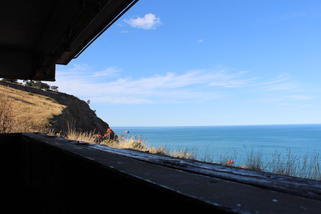 Views across the Pacific from inside a coastal defence structure
