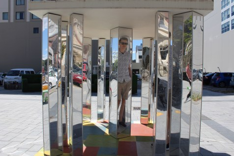 Mirror maze reflects the person standing inside