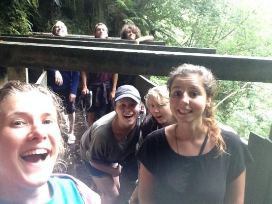 friends take selfie on hike