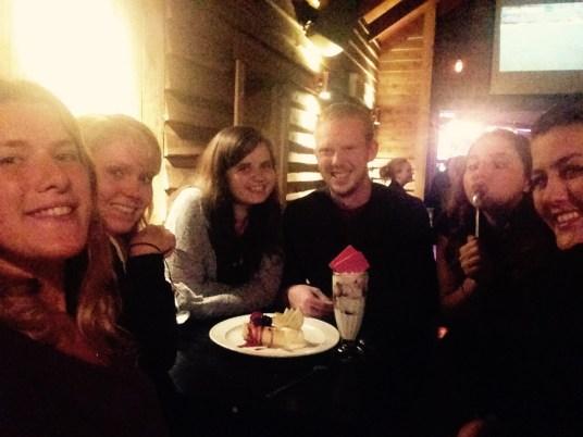 friends share dessert in franz josef