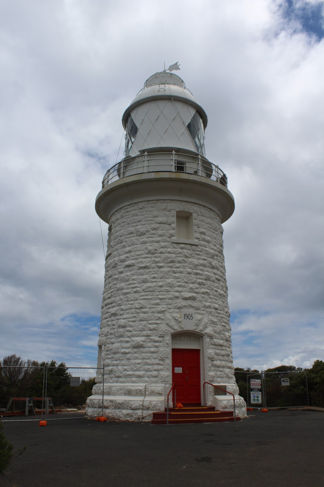 Cape Naturaliste lighthouse with a red door and white tower