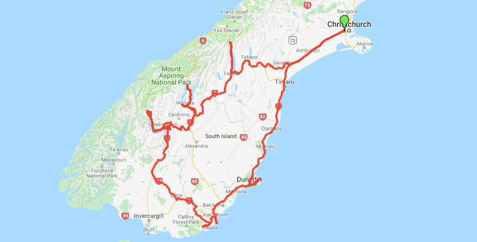 screenshot of Google maps showing the route through the South Island of New Zealand