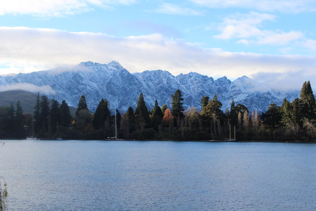 Mist hugs the mountain range in Queenstown with the icy lake in front and a row of pine trees in between