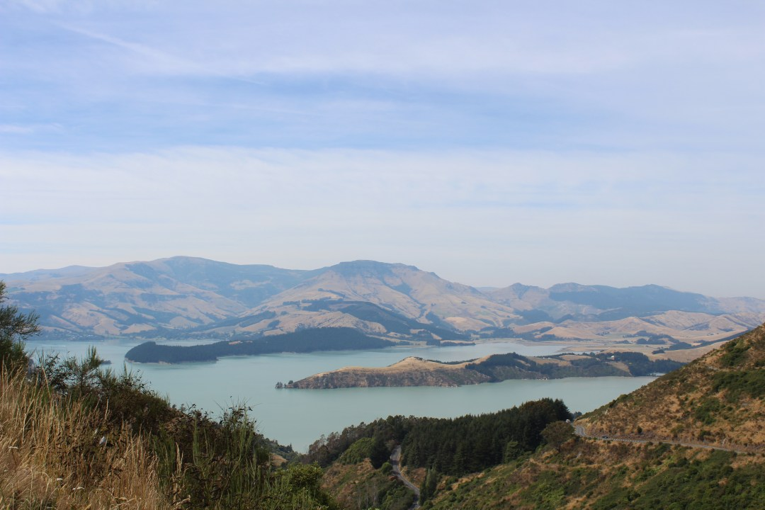 Mountain views overlooking bay in Port Hills, Christchurch New Zealand