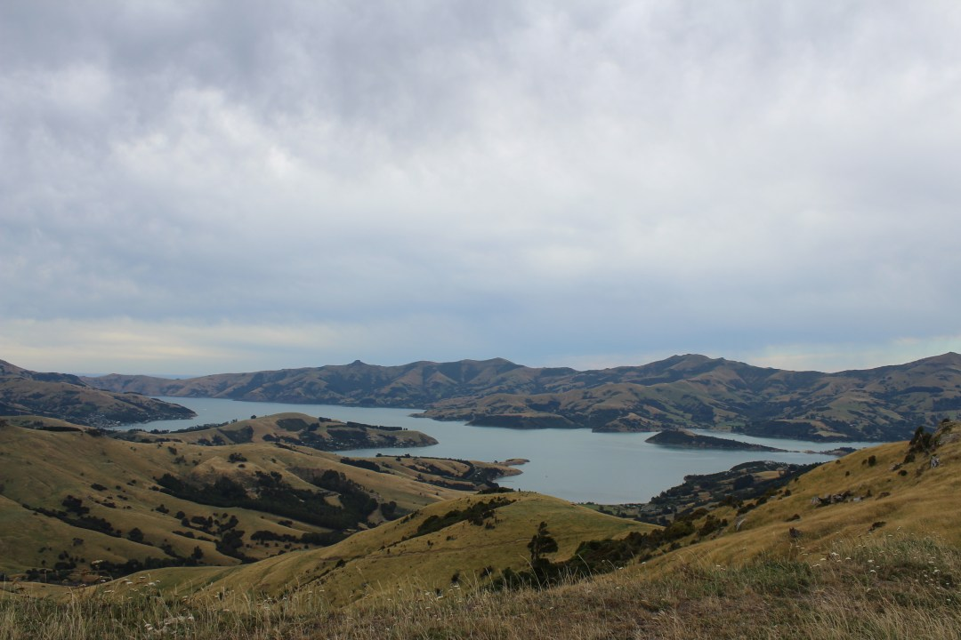 Mountain views overlooking bay in Banks Peninsula New Zealand