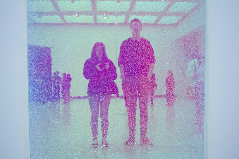 Cracked neon mirror selfie at Hayward Gallery exhibition in London