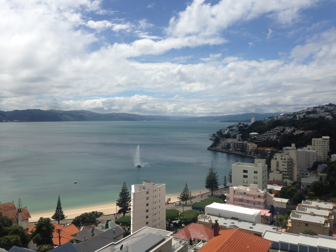 Oriental Bay in Wellington overlooking the ocean, fountain, and apartment buildings