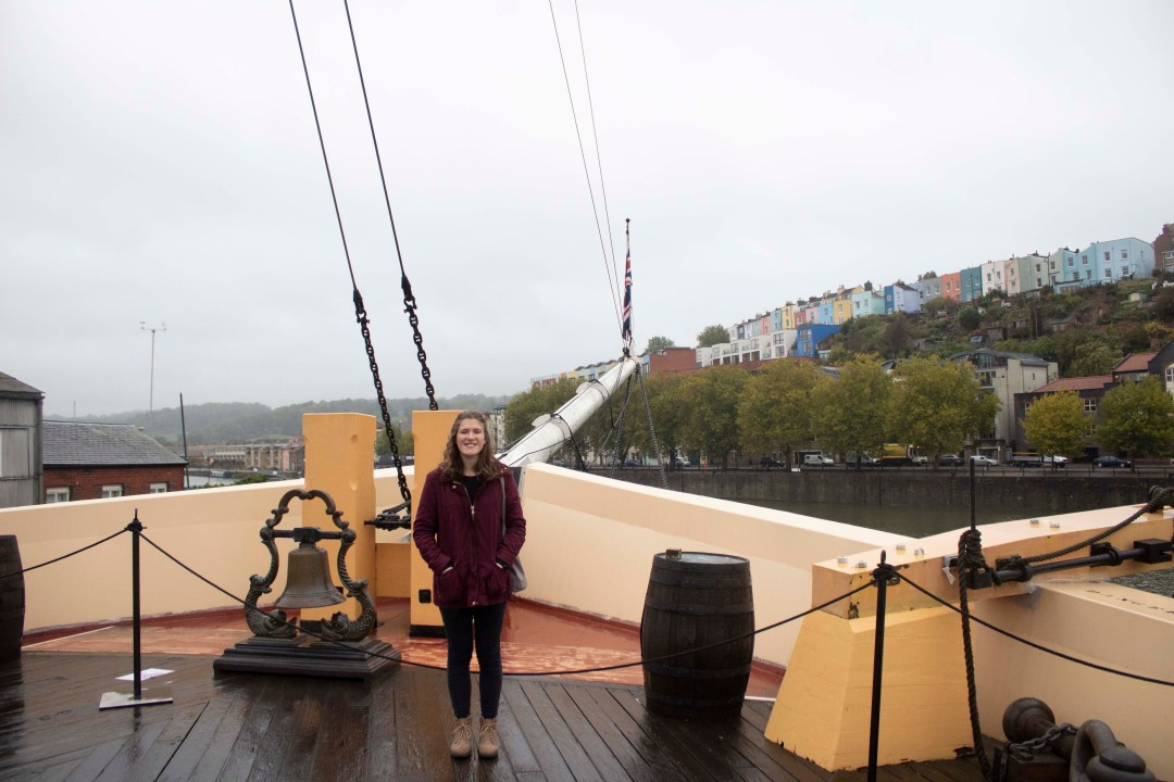Standing on top of ship weather deck in Bristol