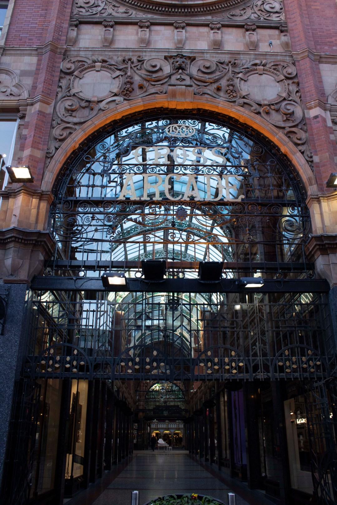 Victorian style entrance to Cross Arcade Leeds Shopping Arcades